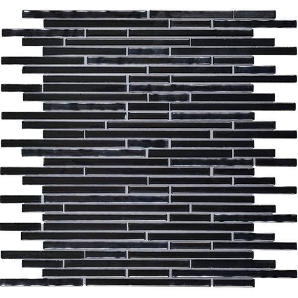 Daltile Opulence Glass Mosaic - OP08 Onyx Midnight - Random Linear Glass Tile Mosaic * SAMPLE *