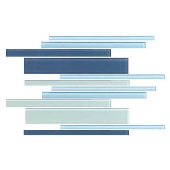 Daltile Color Wave Glass - CW27 Winter Blues Blend - Random Linear Dal Tile Glass Tile - Glossy - Sample