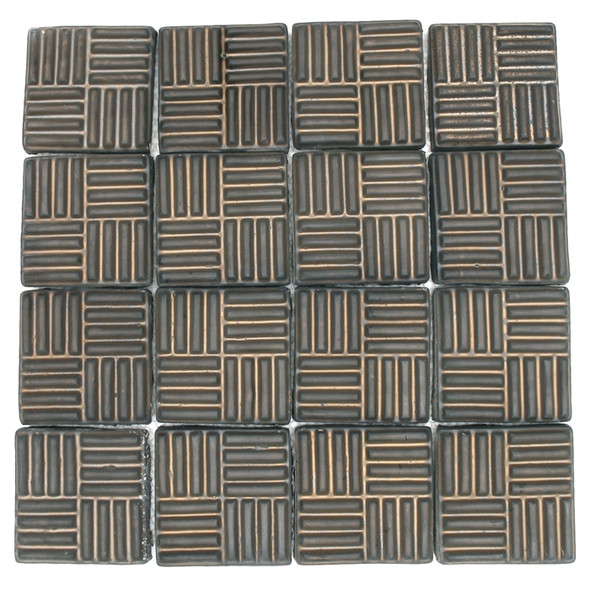 Bristol Studios - Dots & Decos - G2796 Cube Bronze - Hand Crafted Contoured Decorative Mosaic Tile - Sample