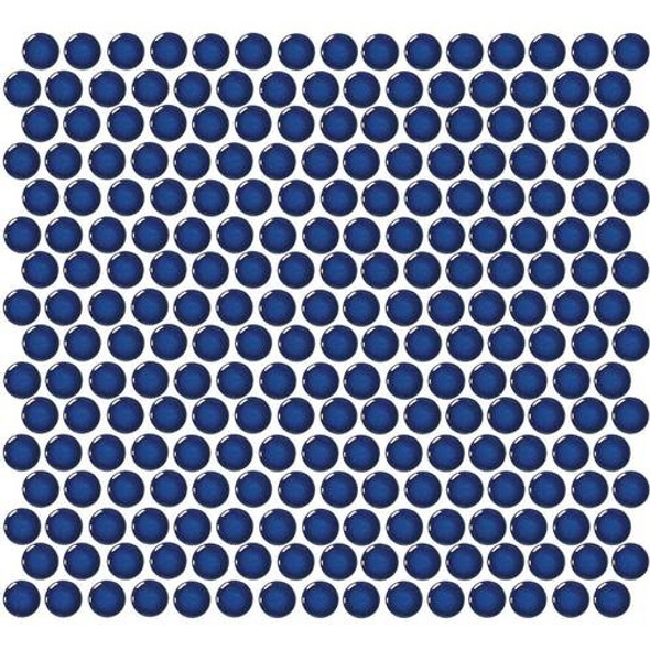 Daltile Fanfare Retro Rounds - RR10 Denim Blue - 1 inch Penny Round Glazed Porcelain Mosaic Tile - Gloss Finish - Sample
