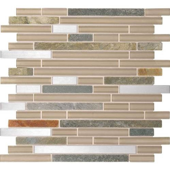 Daltile Fanfare Endeavors - F158 Meditation - 5/8 X Linear Glass Stone and Metal Mosaic - Sample