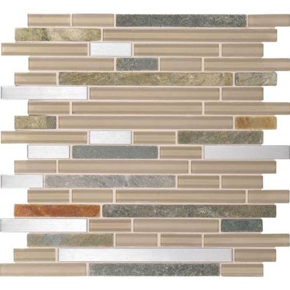 Daltile Fanfare Endeavors - F158 Meditation - 5/8 X Linear Glass Stone and Metal Mosaic - Sample