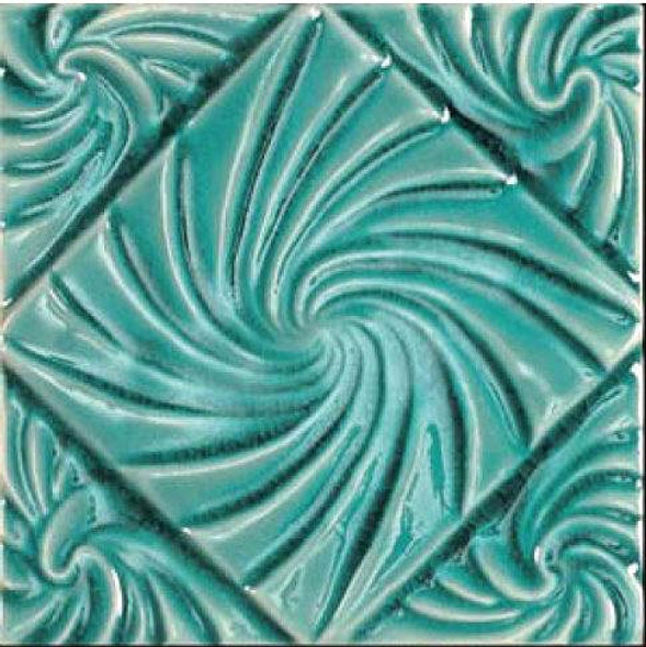 Bristol Studios - Nouveau - G2797 Lyon Teal Relief Deco - 6X6 Hand Crafted Decorative Tile - $4.95