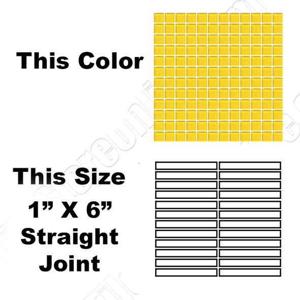Daltile Color Wave Vibrant Glass - CW34 Lemon Popsicle - 1 X 6 Straight Joint Dal Tile Glass Mosaic Tile - Glossy - Sample