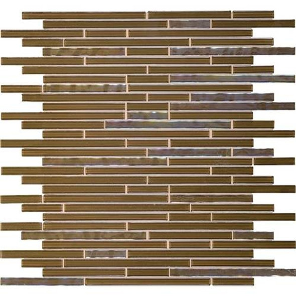 Daltile Opulence Glass Mosaic - OP09 Amber Olive - Random Linear Glass Tile Mosaic * SAMPLE *