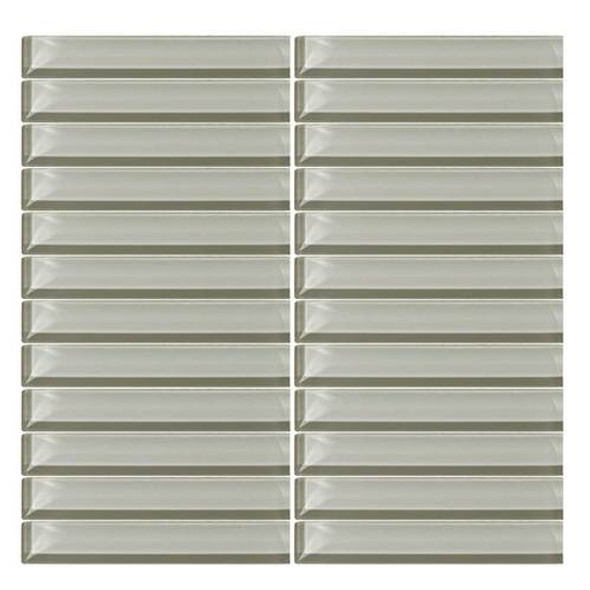 Supplier: Daltile, Series: Color Wave, Name: CW03 Powder Puff- Glossy, Color: White, Category: Glass Tile, Size: 1 X 6