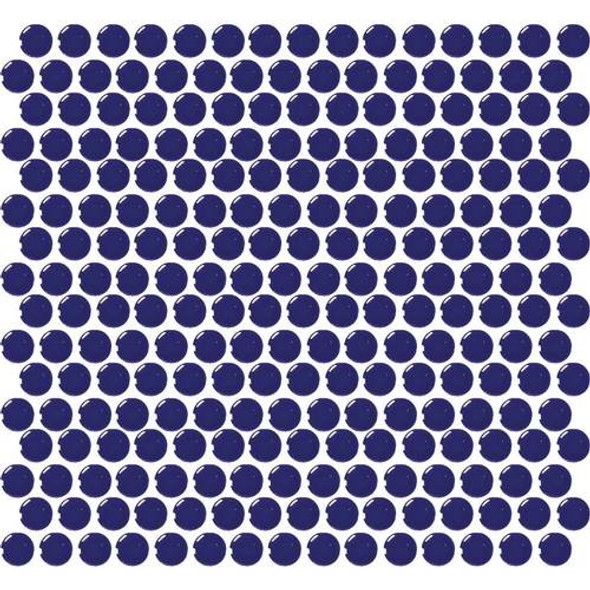 Daltile Fanfare Retro Rounds - RR11 Cobalt Circle - 1 inch Penny Round Glazed Porcelain Mosaic Tile - Gloss Finish - Sample