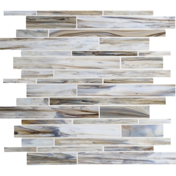 Daltile Serenade Stained Glass Mosaic - F192 Surf Rock - Random Linear Glass Tile Mosaic * SAMPLE *