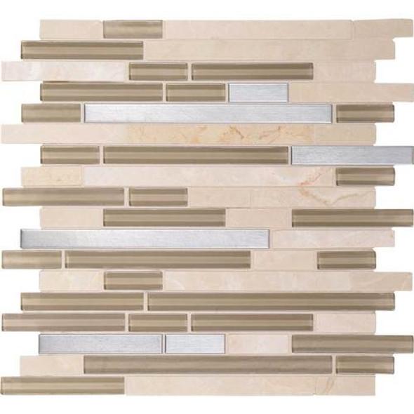 Daltile Fanfare Endeavors - F159 Spirit - 5/8 X Linear Glass Stone and Metal Mosaic - Sample