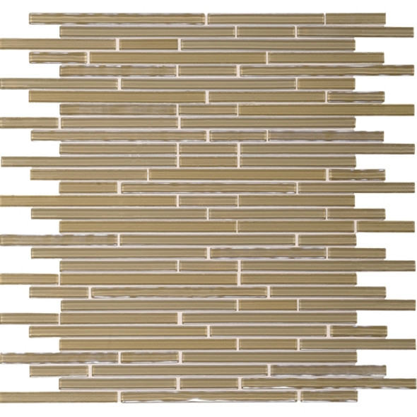 Daltile Opulence Glass Mosaic - OP10 Sandstone Walnut - Random Linear Glass Tile Mosaic * SAMPLE *