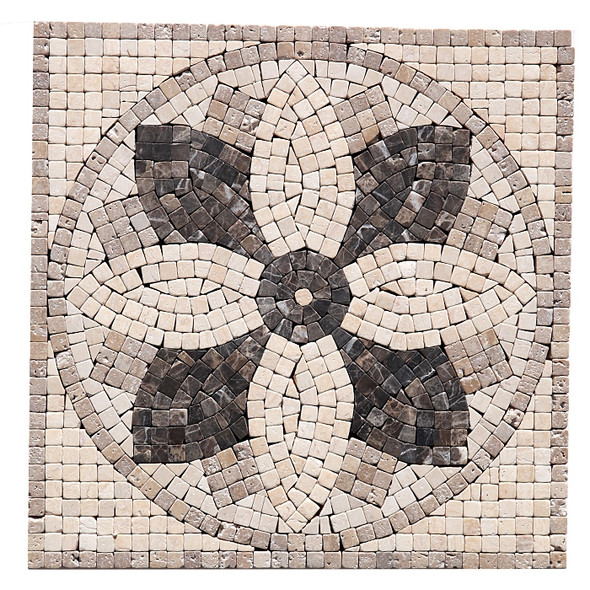 "Jeffrey Court Micro Flower Panel Medallion - 12"" X 12"" Emperador Crema Travertine Natural Stone Mosaic Medallion"
