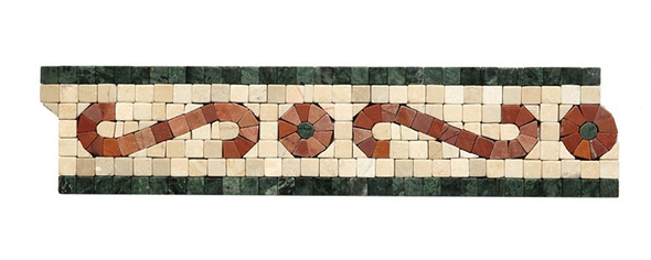 Micro Mosaic Stone Liner Border - MM2005 - Crema Marfil, Rojo, & Verde Marble Listello Strip - Tumbled Finish - $5.99