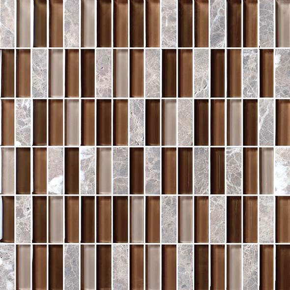 Bristol Studios - Crystal Stone - G2280 Cafe Bricks - 5/8 X 1-7/8 Brick Subway Glass & Stone Tile Mosaic - Sample