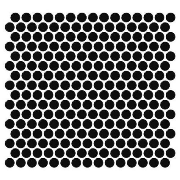 Daltile Fanfare Retro Rounds - RR14 Canvas Black - 1 inch Penny Round Glazed Porcelain Mosaic Tile - Gloss Finish - Sample