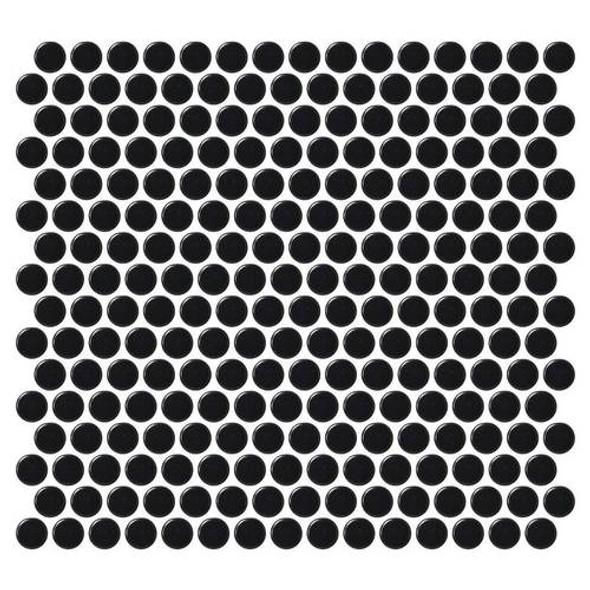 Daltile Fanfare Retro Rounds - RR15 Canvas Black - 1 inch Penny Round Glazed Porcelain Mosaic Tile - Matte Finish - Sample