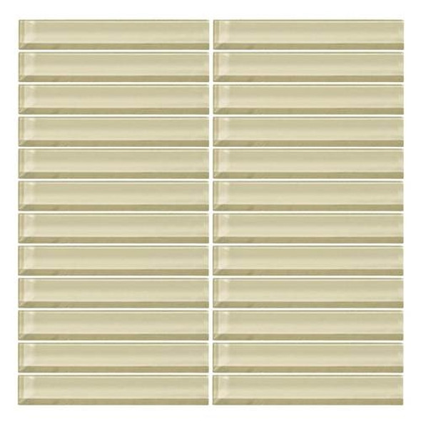 Daltile Color Wave Glass - CW05 Whipped Cream  - 1 X 6 Straight Joint Dal Tile Glass Mosaic Tile - Glossy - Sample