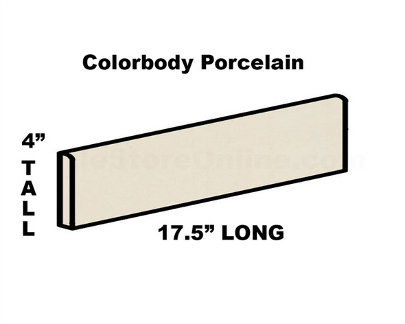 Daltile - Porcealto CD28 Bianco Ghiaccio - 4 X 17.5 Bullnose - Color Through Body Porcelain Bull Nose Trim Tile