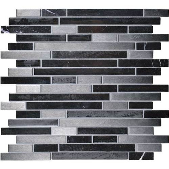Daltile Fanfare Endeavors - F161 Mystic - 5/8 X Linear Glass Stone and Metal Mosaic - Sample