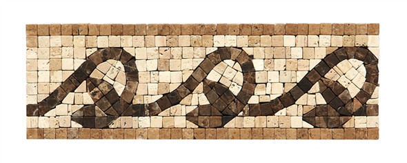 Micro Mosaic Stone Liner Border - MM3008 - Travertine & Emperador Dark Marble Listello Strip - Tumbled Finish - $7.99