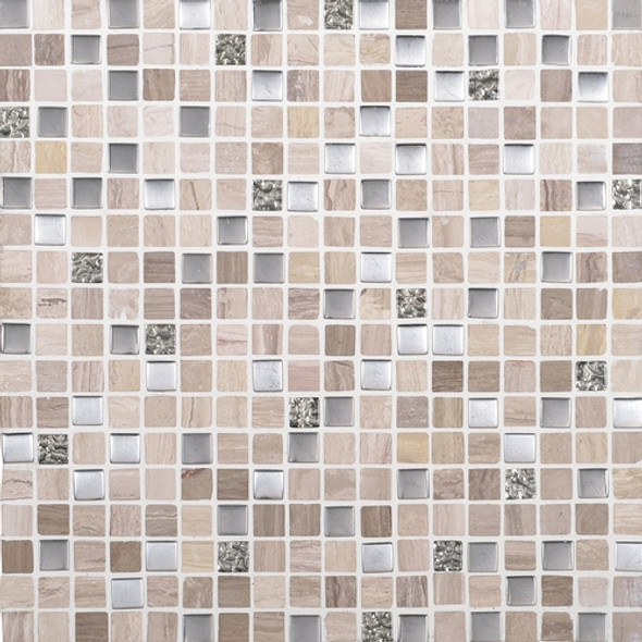 Daltile Marvel Mosaic - MV20 Whimsical- 5/8 X 5/8 Glass Tile, Stone, and Metal Deco Tile Mosaic* SAMPLE *