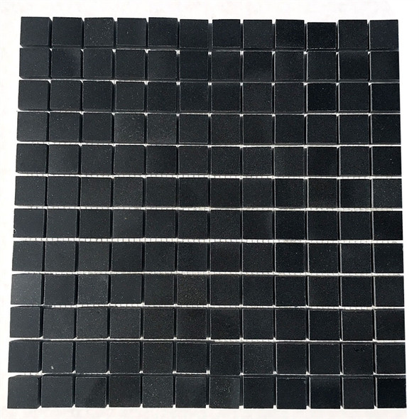 "Black Absolute Granite - 1"" X 1"" Black Granite Blend - Mosaic Tile - Soft Polish Finish"