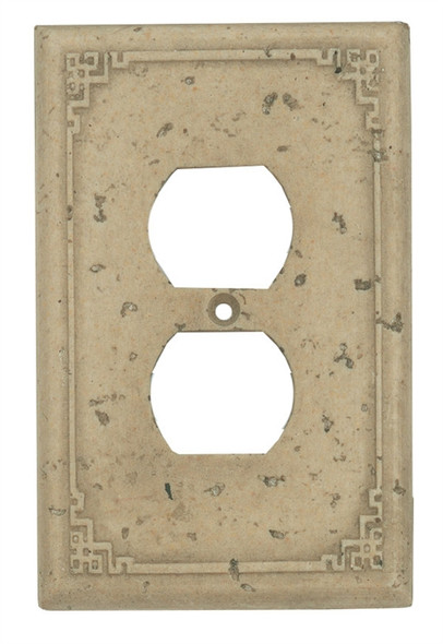 Resin Travertine Faux Stone Wall Switch Plate Outlet Cover - Double Toggle Switch - Geometric - Light Travertine Color - $4.99