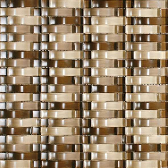 Bristol Studios - Mosaics De Verre - G2329 Sable Bows - Arched Glass Basketweave Mosaic - Sample