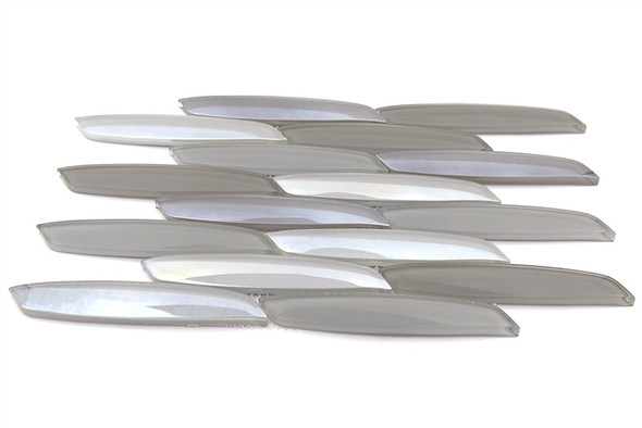 Avenue Mosaics - Streamline - OT-ST-MT Mustang - Curved Linear Glass Tile - Iridescent - $12.95