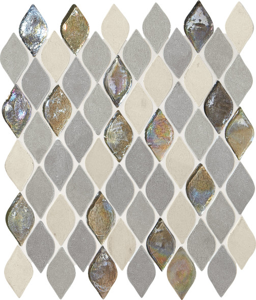 Daltile Blanc ET - DA19 Gris Raindrop - Cast Limestone & Glass Blend - Waterjet Cut Flame Shape Glass & Stone Tile Mosaic - Sample