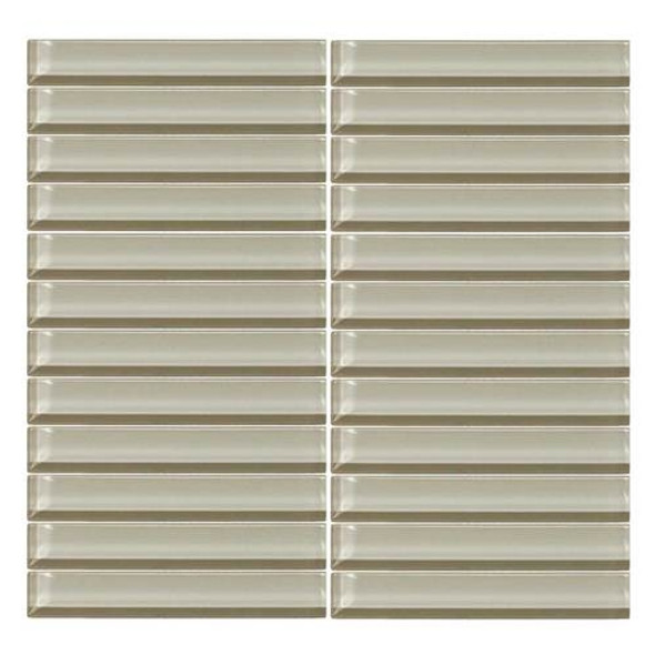 Supplier: Daltile, Series: Color Wave, Name: CW04 Silver Mink- Glossy, Color: White, Category: Glass Tile, Size: 1 X 6