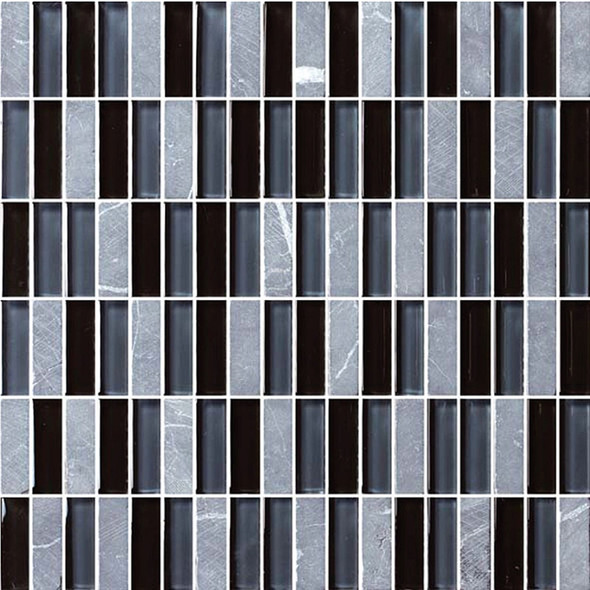 Bristol Studios - Crystal Stone - G2276 Night Bricks - 5/8 X 1-7/8 Brick Subway Glass & Stone Tile Mosaic - $7.99