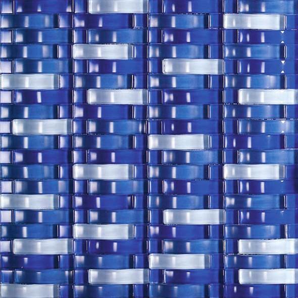 Bristol Studios - Mosaics De Verre - G2331 Blue Bows - Arched Glass Basketweave Mosaic - Sample