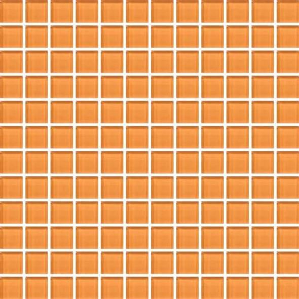 Daltile Color Wave Vibrant Glass - CW29 Russet Orange - 1 X 1 Dal Tile Glass Tile - Glossy - Sample