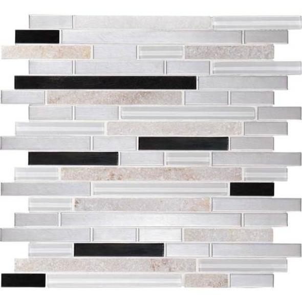 Daltile Fanfare Endeavors - F163 Avant Garde - 5/8 X Linear Glass Stone and Metal Mosaic - Sample
