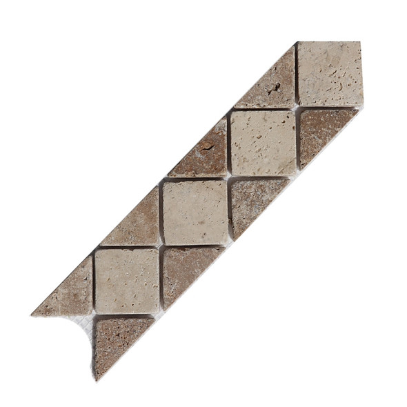 Tumbled Travertine Border Liner, Color: Classic Light & Noce, Price: 3.99, Size: 3X12
