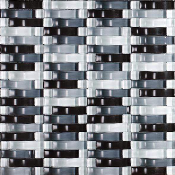 Bristol Studios - Mosaics De Verre - G2333 Gris Bows - Arched Glass Basketweave Mosaic - Sample