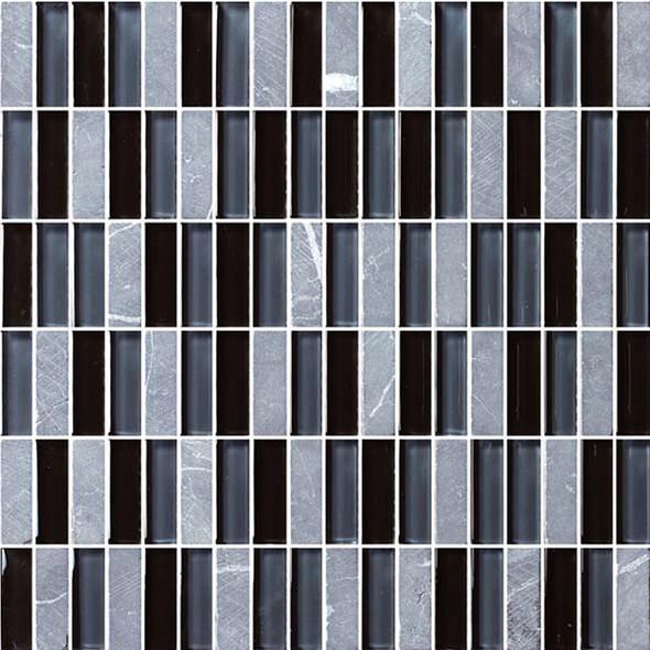 Bristol Studios - Crystal Stone - G2276 Night Bricks - 5/8 X 1-7/8 Brick Subway Glass & Stone Tile Mosaic - Sample