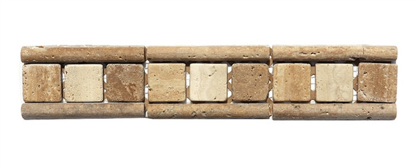 Micro Mosaic Stone Liner Border - MM3014 - Travertine 3D Relief Raised Listello Strip - Tumbled Finish - $5.99