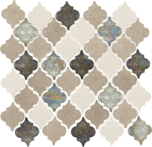 Daltile Blanc ET - DA20 Beige Baroque - Cast Limestone & Glass Blend - Waterjet Cut Arabesque Shape Glass & Stone Tile Mosaic - Sample