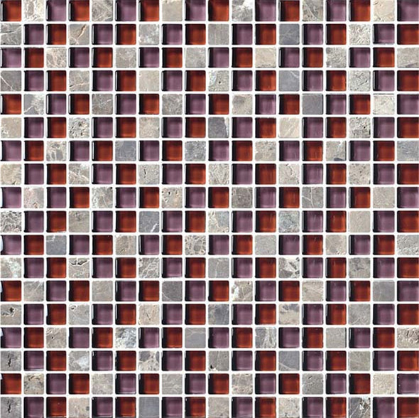 Bristol Studios - Crystal Stone - G2277 Rouge Squares - 5/8 X 5/8 Square Glass & Stone Tile Mosaic - $7.99