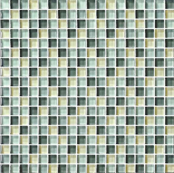 Bristol Studios - Mosaics De Verre - G2334 Vert Squares - 5/8 X 5/8 Square Glass Tile Mosaic - Sample