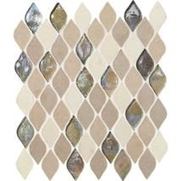 Daltile Blanc ET - DA20 Beige Raindrop - Flame Shape Glass & Resin Stone Tile Mosaic