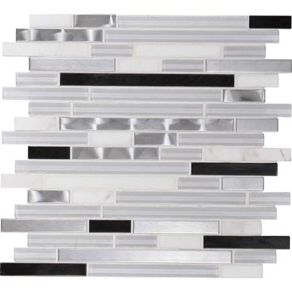 Daltile Fanfare Endeavors - F164 Neo Classic - 5/8 X Linear Glass Stone and Metal Mosaic - Sample