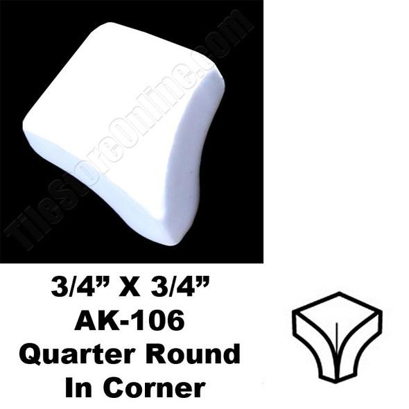 Daltile - 0100 White - 3/4 X 3/4 Quarter Round In Corner - AK106 Dal Tile Ceramic Trim Tile