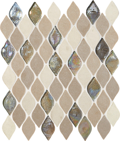 Daltile Blanc ET - DA20 Beige Raindrop - Cast Limestone & Glass Blend - Waterjet Cut Flame Shape Glass & Stone Tile Mosaic - Sample