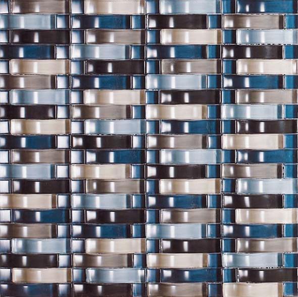 Bristol Studios - Mosaics De Verre - G2337 Naturel Bows - Arched Glass Basketweave Mosaic - Sample