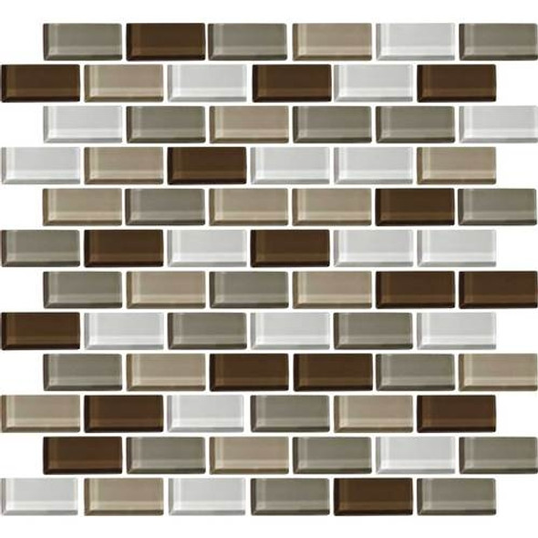 Daltile Color Wave Glass - CW23 Downtown Oasis Blend - 1 X 2 Brick Subway Dal Tile Glass Tile - Glossy - Sample