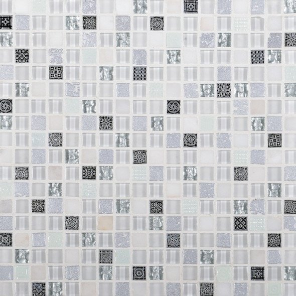 Daltile Marvel Mosaic - MV24 Opal - 5/8 X 5/8 Glass Tile, Stone, and Metal Deco Tile Mosaic* SAMPLE *