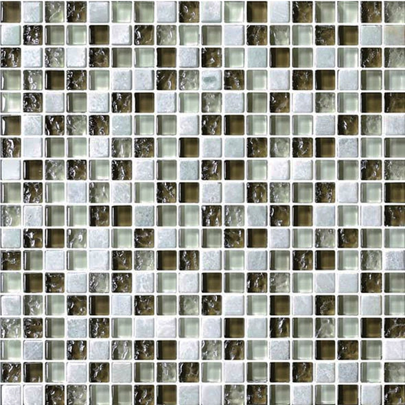Bristol Studios - Crystal Stone - G2281 Verde Squares - 5/8 X 5/8 Square Glass & Stone Tile Mosaic - Sample