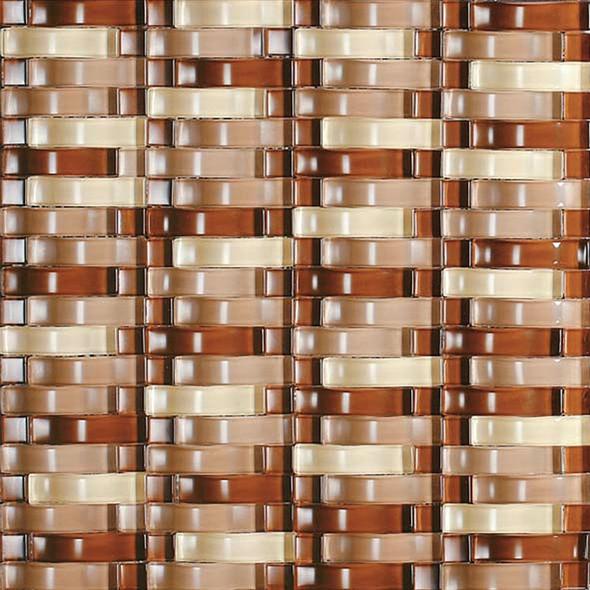 Bristol Studios - Mosaics De Verre - G2339 Rouille Bows - Arched Glass Basketweave Mosaic - Sample
